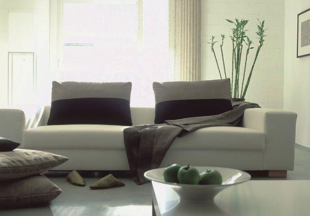 Einrichtung Aus Bambus, Pappe Und Holz Sowie Baumwollstoffe Und Pflanzen  Als Raumdekoration